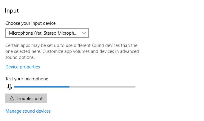 Windows 10 Input Device