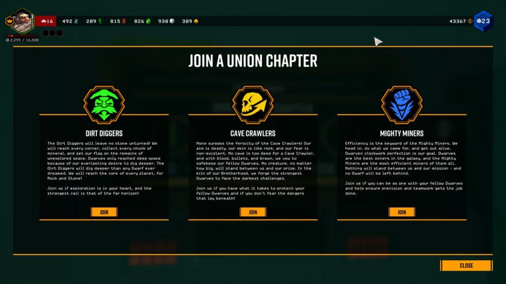 Deep Rock Galactic Union Chapters