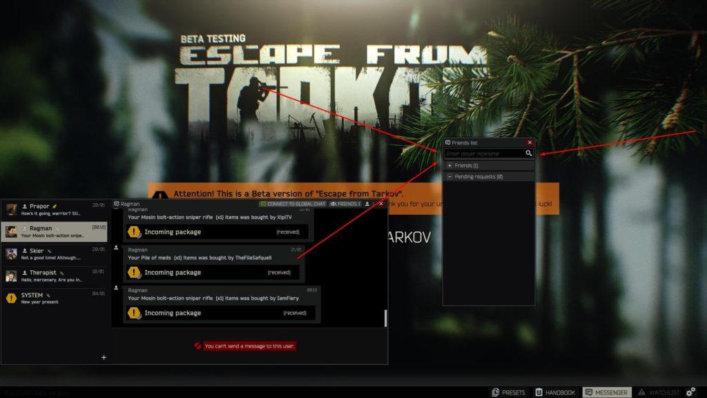 Escape from Tarkov Friends List