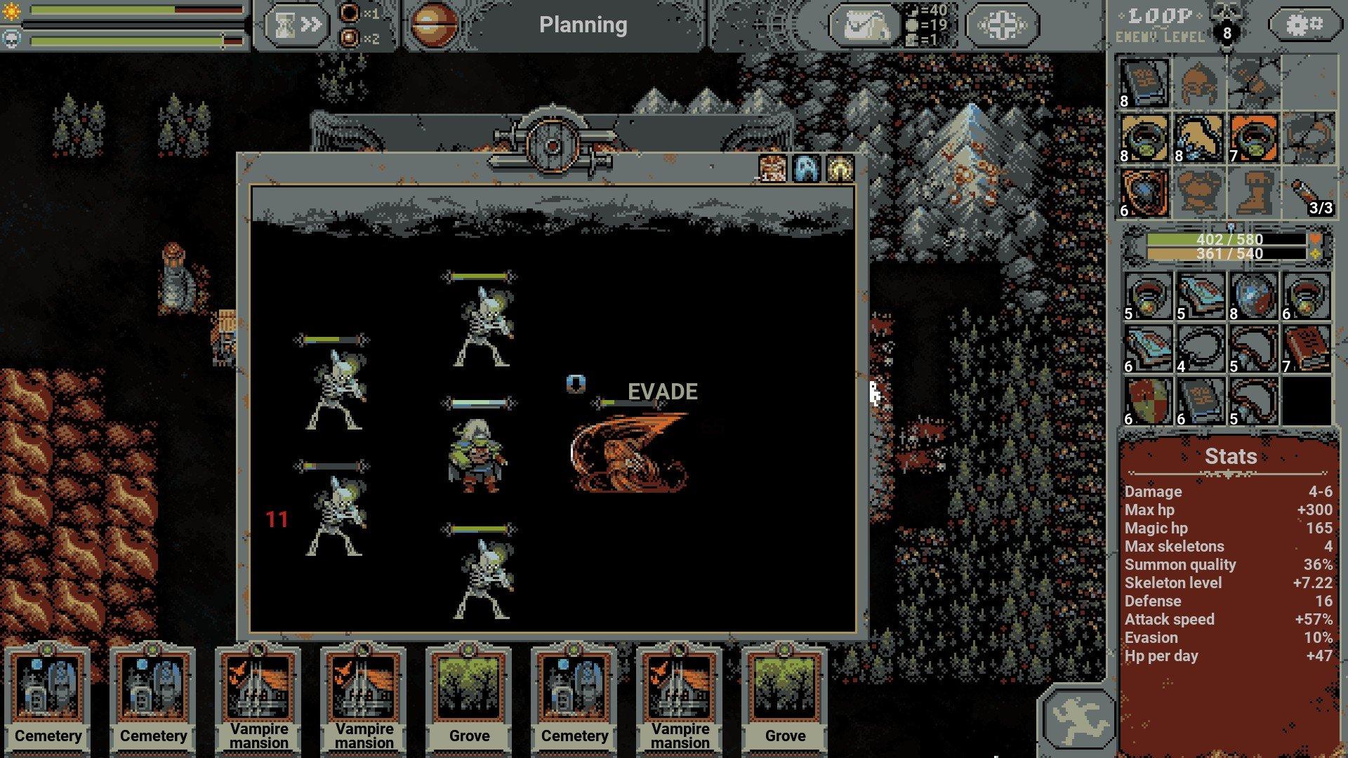 Loop Hero Evasion Necromancer Battle