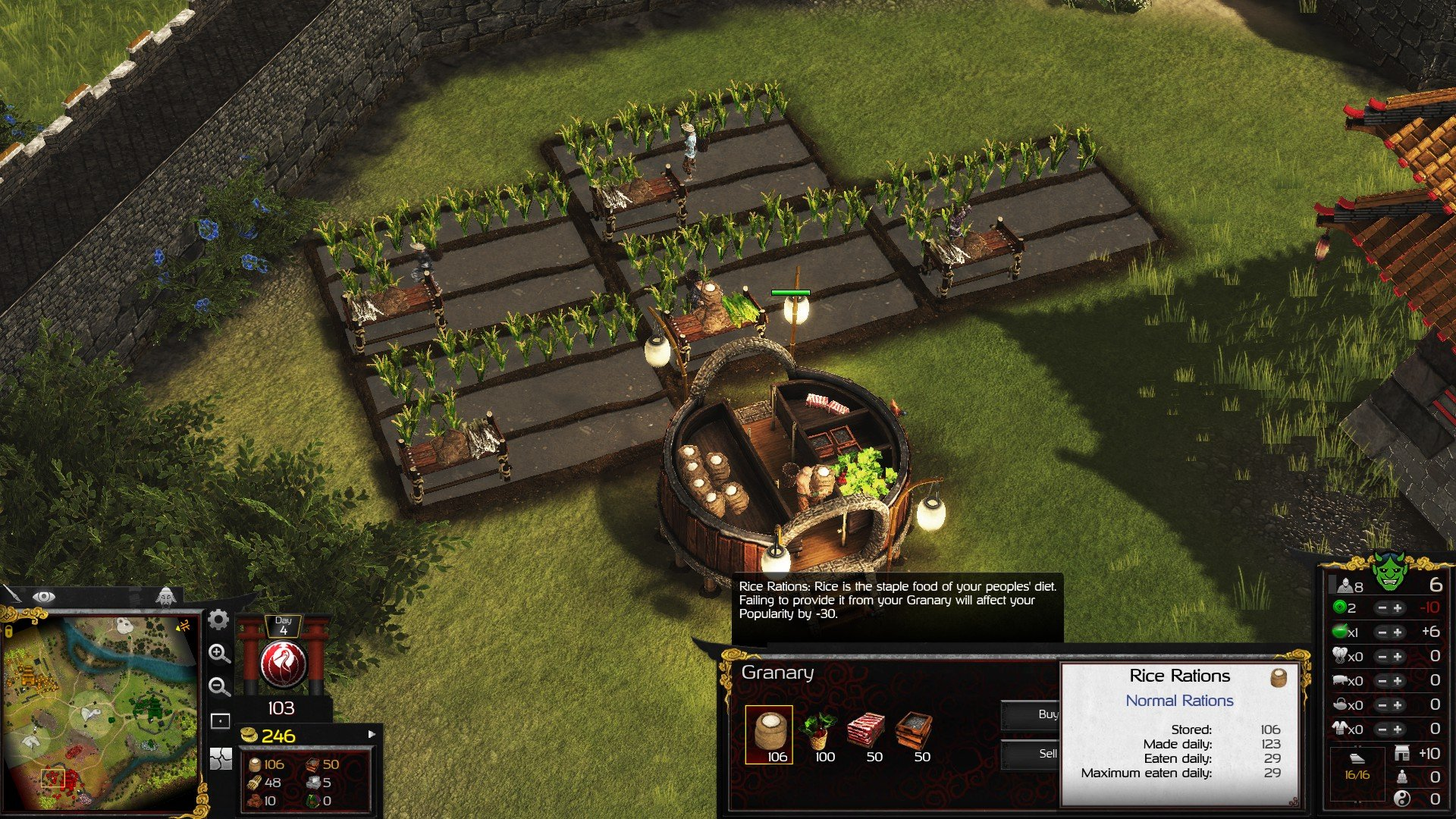 Stronghold Warlords Food Stats