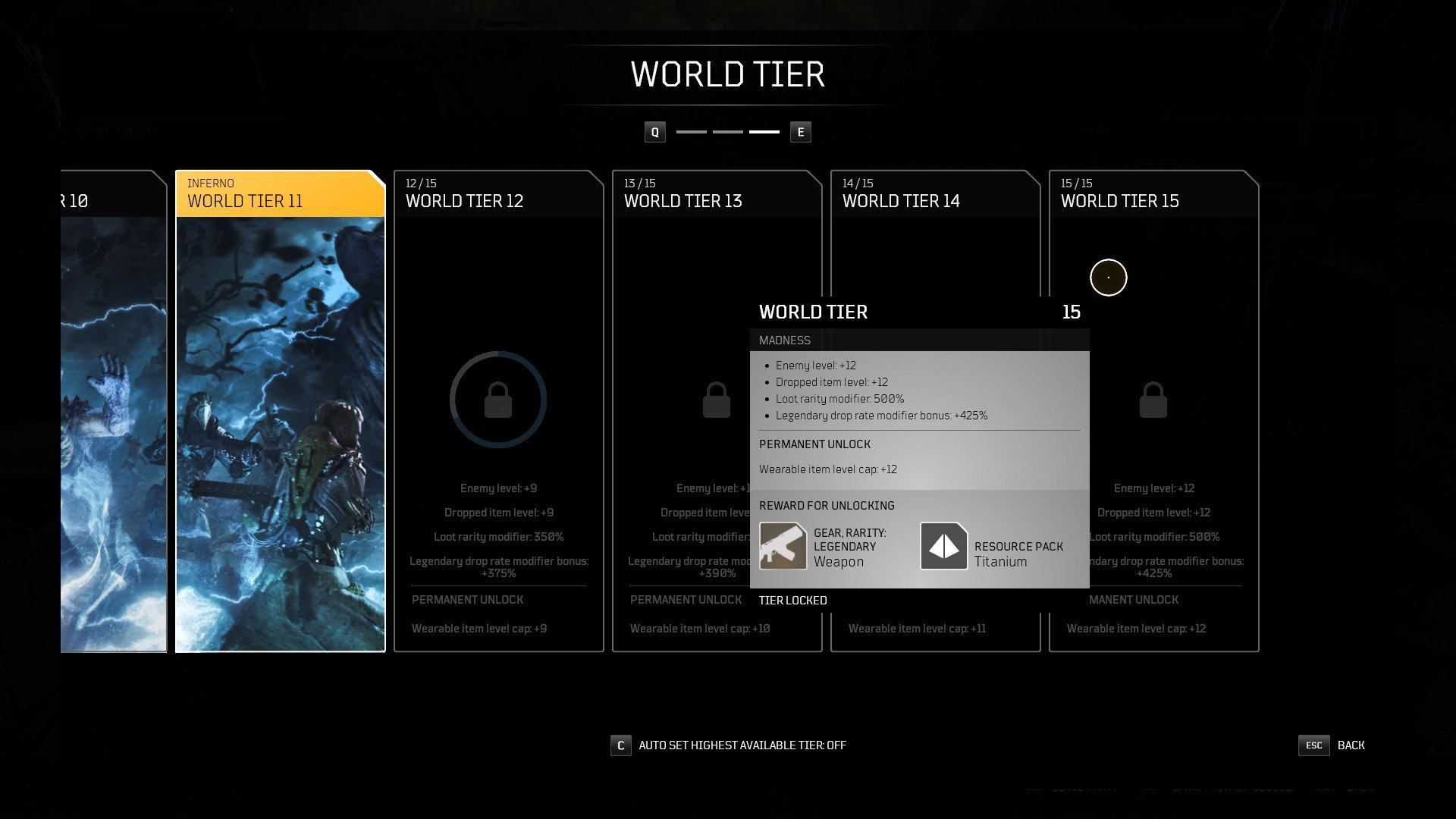 Outriders - Legendary Drop Rate World Tiers