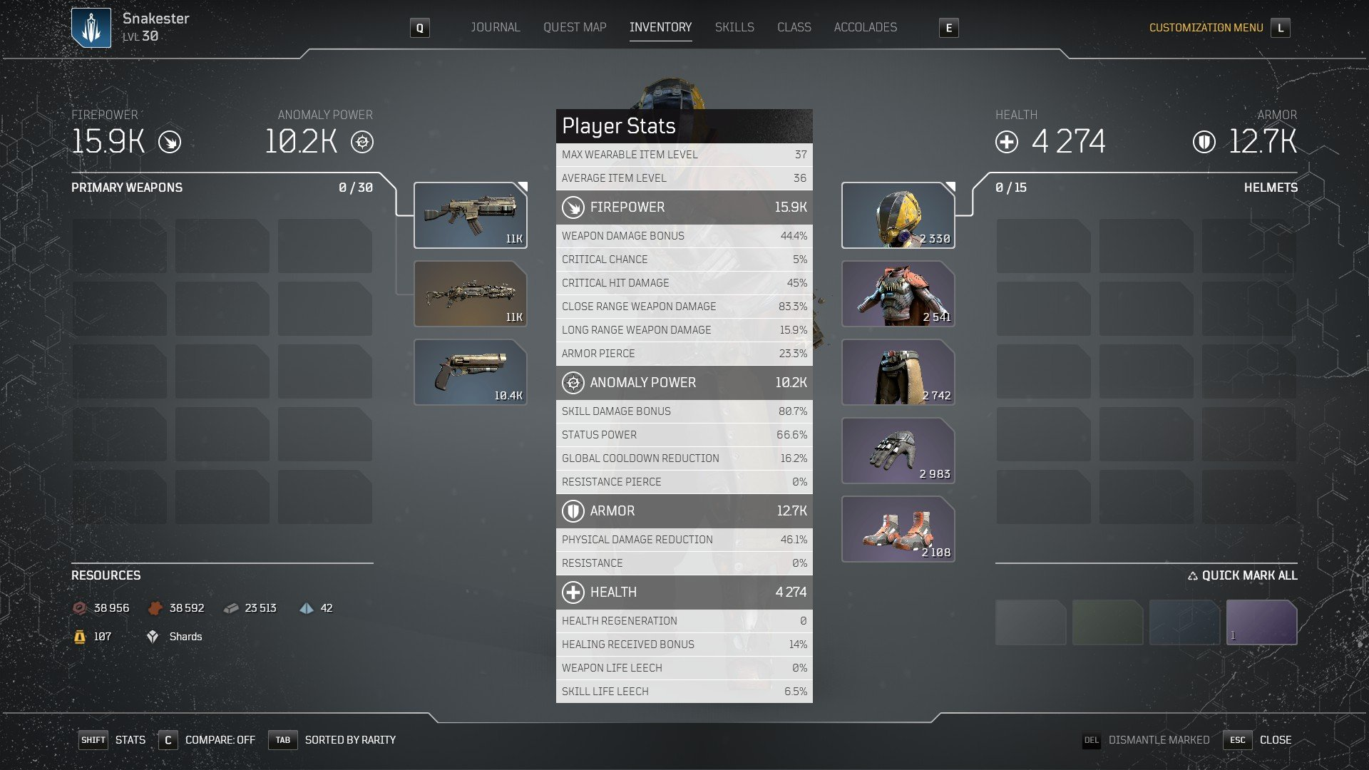 Outriders - Overall Player Stats