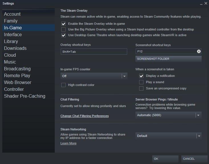 Valheim - Steam Settings Screenshot Hotkey