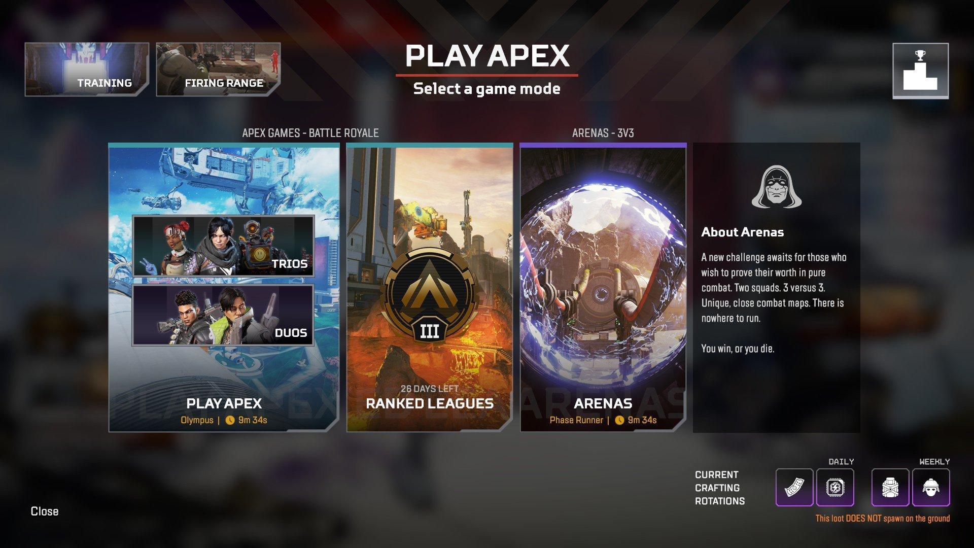 Apex Legends - Game Modes Ranked