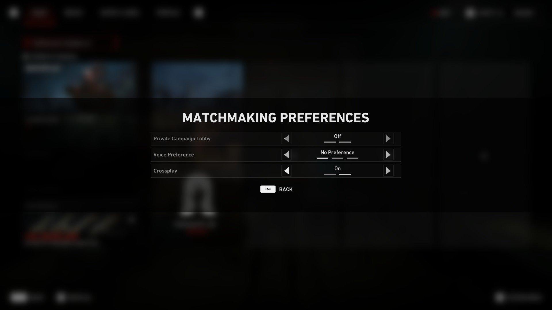 Back 4 Blood - Matchmaking Preferences Screenshot