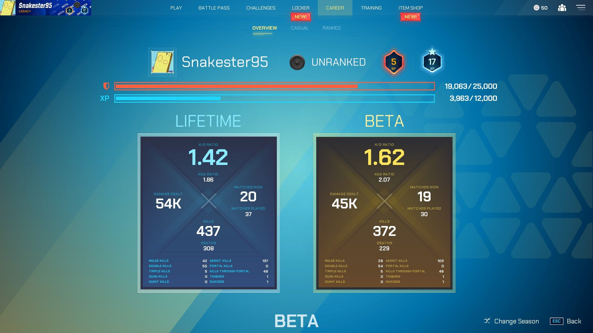 Splitgate - Career Stats Page