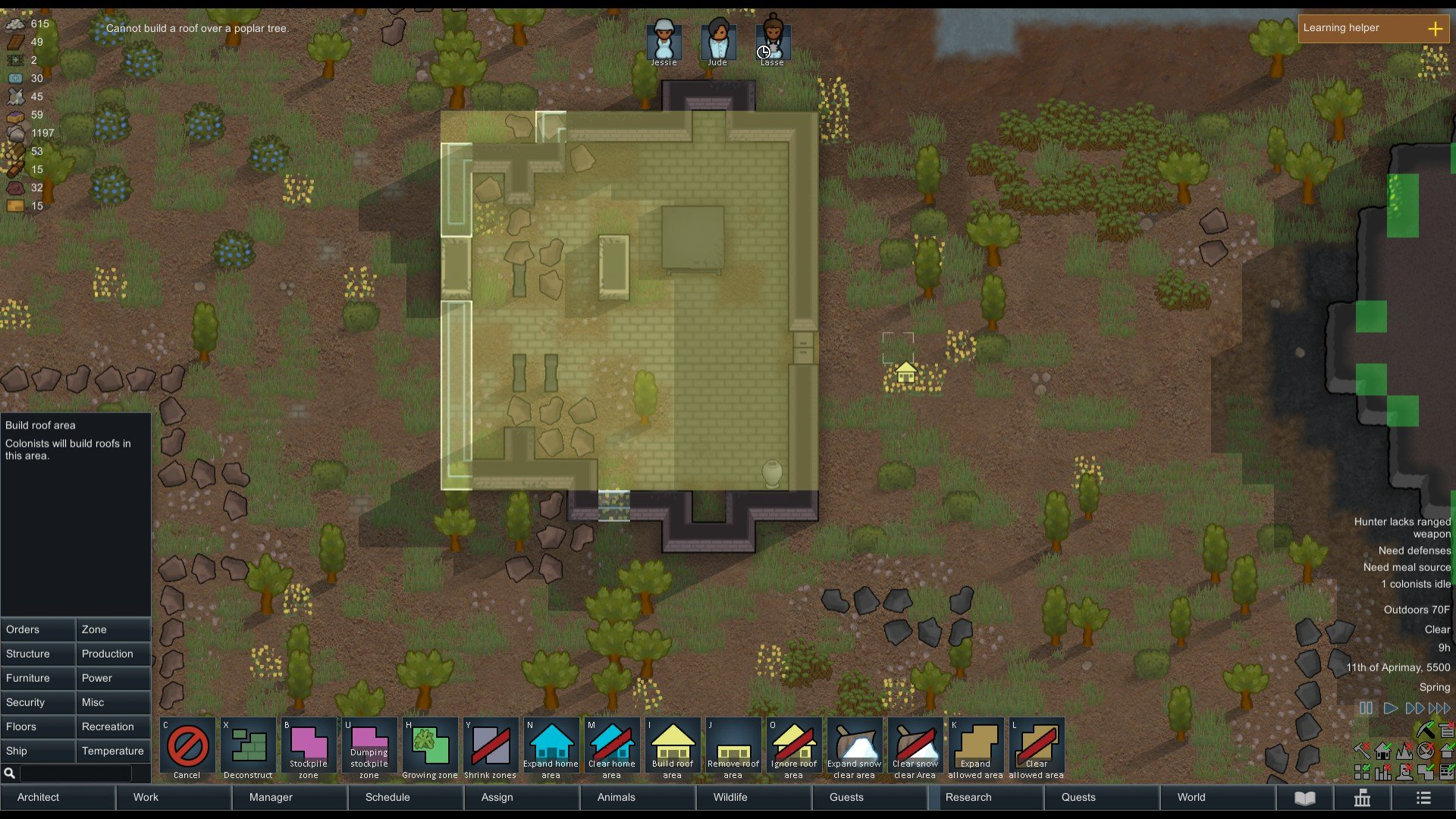 RimWorld - How to Build a Roof