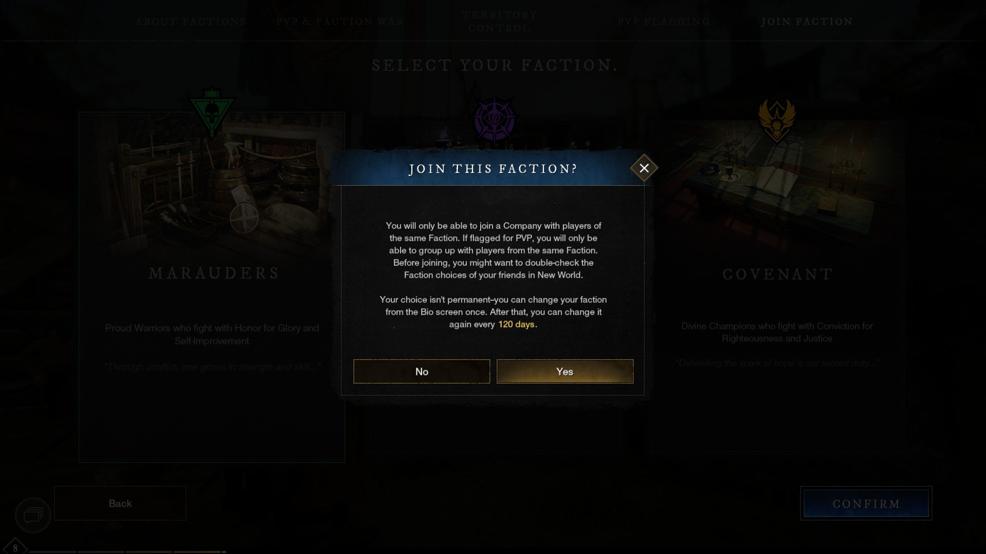 New World - Change Faction Cooldown
