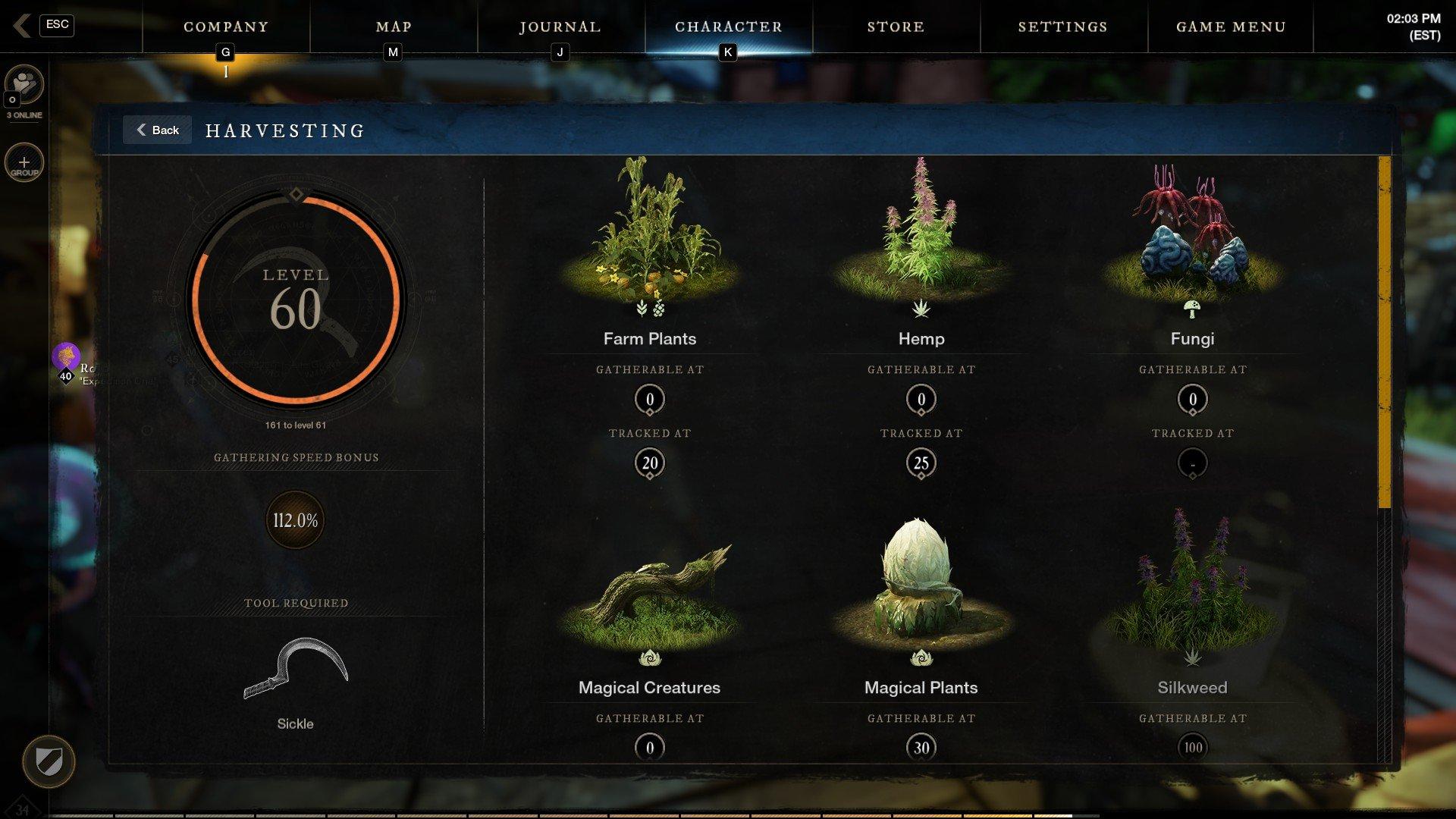 New World - Harvesting Plant Tracking