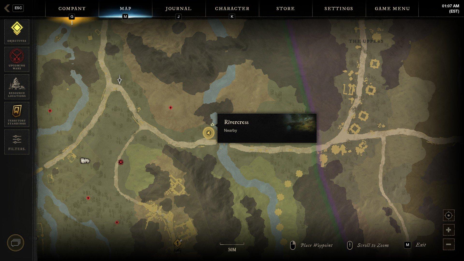 New World - Rivercress Map Biome Tracking